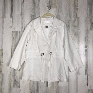 Susan Bristol Womens Belted Linen Blazer Size XL